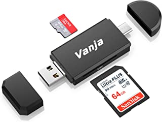 SD Card Reader, Vanja 3 in 1 Micro USB Type C Portable Memory Card Reader and SD/TF Card Adapter with OTG Function for PC ...