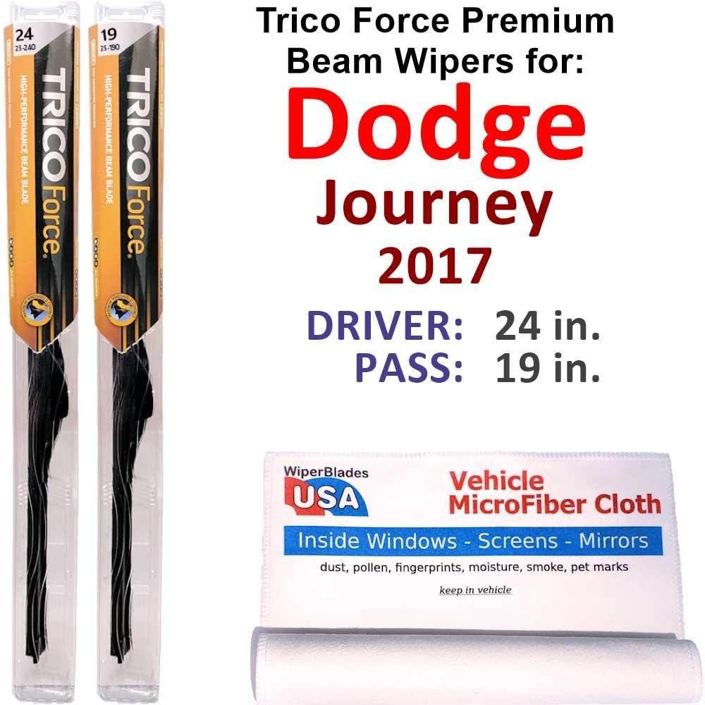 Premium Beam 数量限定 送料無料/新品 Wiper Blades for 2017 Journey Dodge Force Trico Set