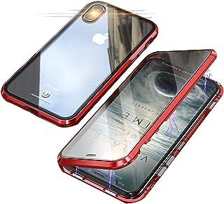 Jonwelsy Funda para iPhone XS MAX (6,5 Pulgada), 360 Grados Delantera y Trasera de Transparente Vidrio Templado Case Cover, Fuerte Tecnología de Adsorción Magnética Metal Bumper Cubierta (Rojo)