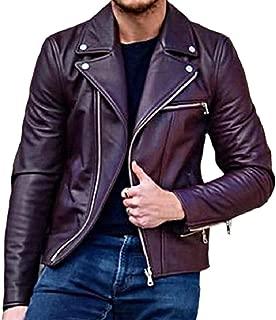 Sodossny-AU Men Turn Down Collar Overcoat Motorcycle Biker Solid Faux Leather Coat