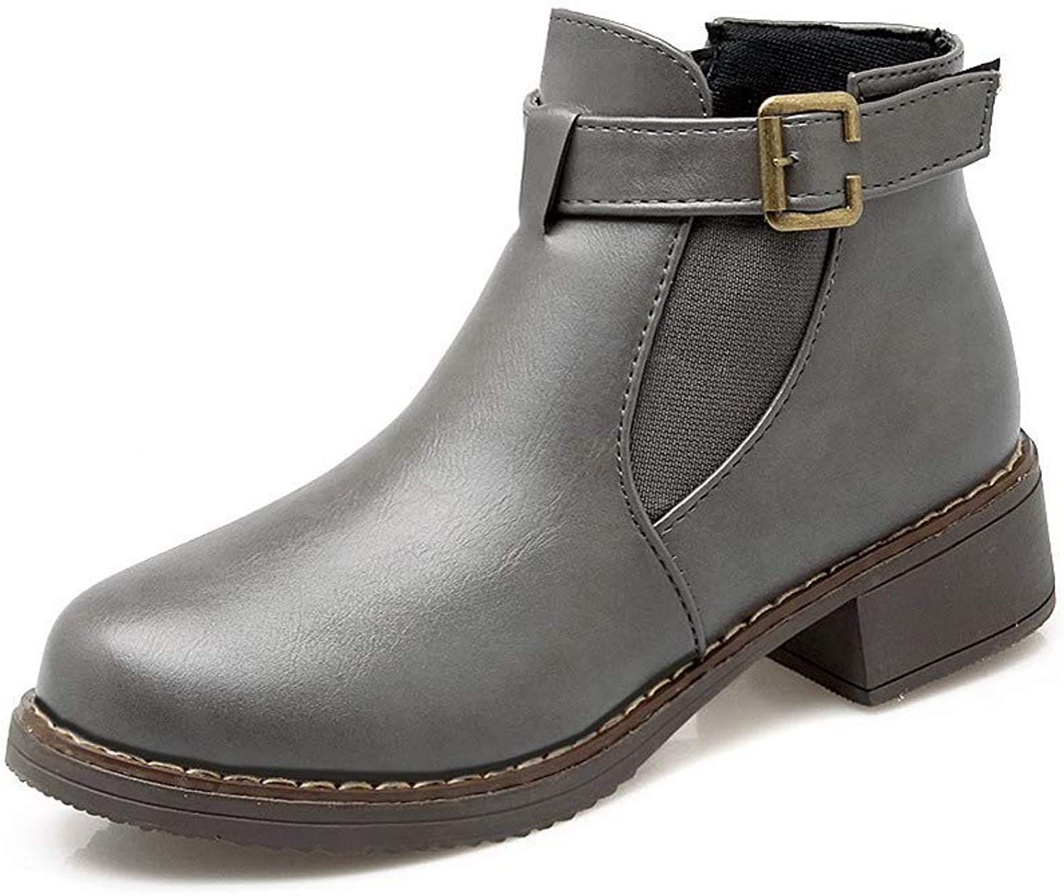 WeiPoot Women's pu Ankle-High Solid Pull-On Low-Heels Boots, EGHXG030883