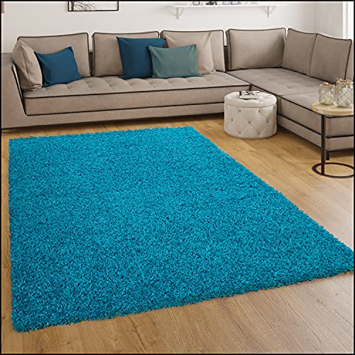 Paco Home Shaggy Hochflor Langflor Teppich Sky Einfarbig in Türkis, Grösse:60x100 cm