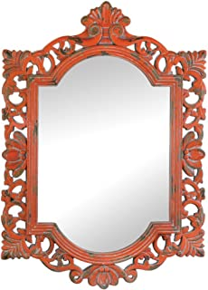 VERDUGO GIFT 57072155 Weathered Finished Wall Mirror, Orange