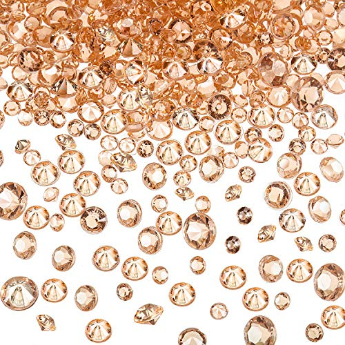 10000 Piezas Diamantes de Acrílico Confeti de Dispersa de Mesa de Boda Transparente para Centro de Mesa Boda Despedida de Soltera Abalorios de Florero (Dorado Rosado, 3 mm, 4,5 mm y 6 mm)