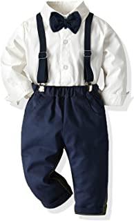 Yokald Ropa Bebe Conjunto Niño Traje de Vestir Conjuntos de Otoño e Invierno Camisa de Manga Larga Pantalón + Pajarita Tir...