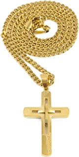 Riveting Jewelry 18K Gold Cross Chain Necklace Pendant for Men, Women. Miami Cuban Link Chain w/Real Strong Solid Clasp