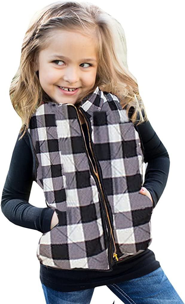 Girls Puffer Lightweight Bargain sale Plaid Quilted Opening large release sale Winter Padde Outwear Vest