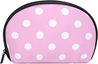 ALAZA Pink and White Polka Dot Half Moon Cosmetic Makeup Toiletry Bag Pouch Travel Handy Purse Organizer Bag for Women Girls