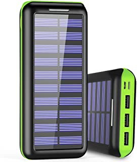 Portable Charger 24000mAh Power Bank High Capacity Solar charger with Dual Input Port ( Double-Speed Recharging ) & 3 USB Ports External Batteries for Smartphones,Android Phones and other Smart Devices - Green …