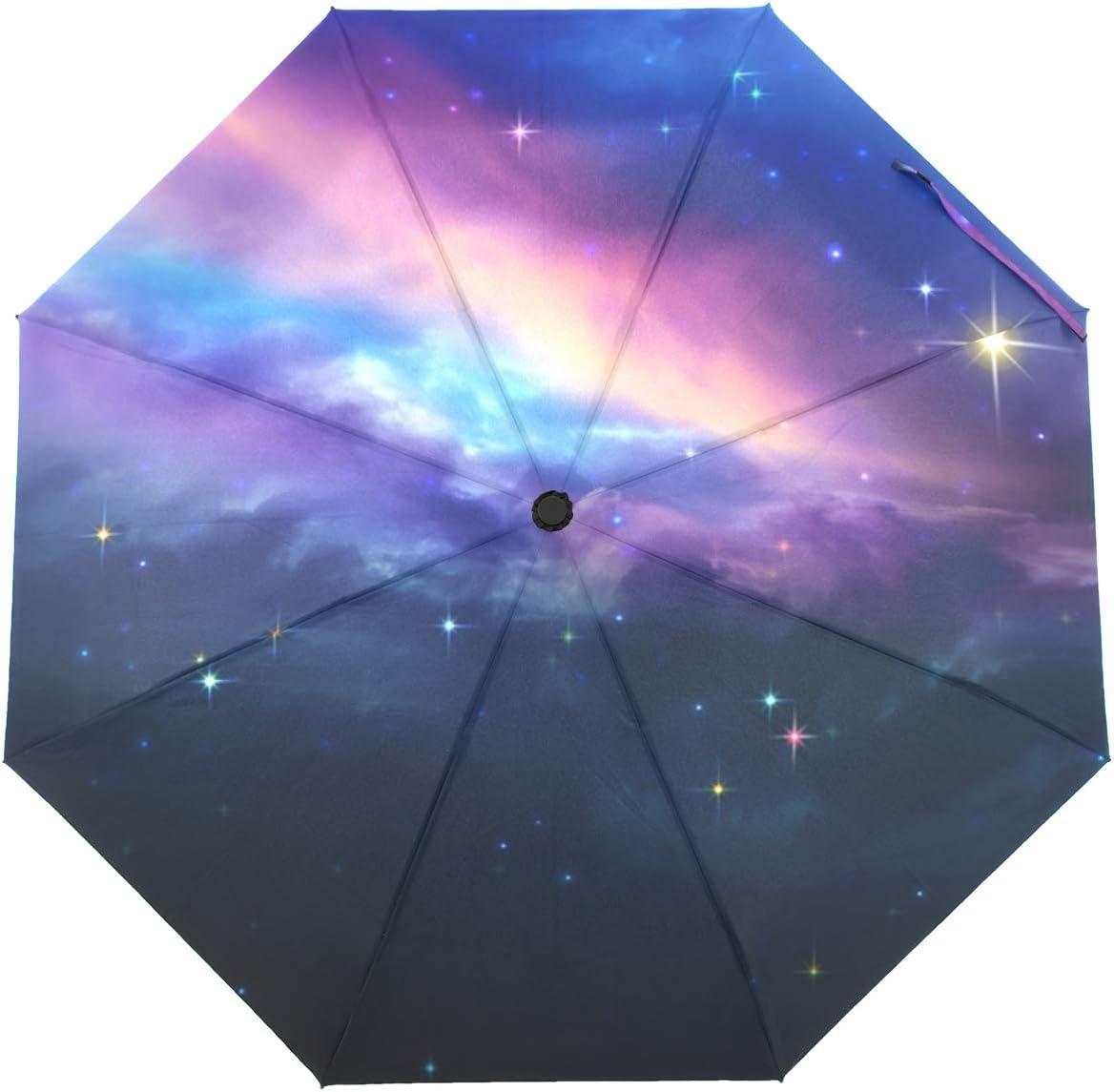 OREZI Brand Cheap Sale Venue Automatic Open Close Folding T Umbrella Sky Luxury Colorful Night