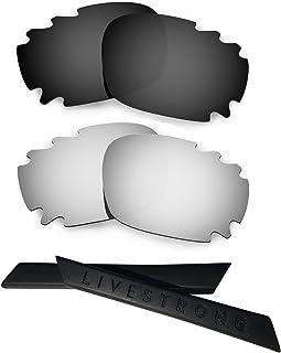 HKUCO Black/Titanium Polarized Replacement Lenses Plus Black Earsocks Rubber Kit For Oakley Racing Jacket Vented
