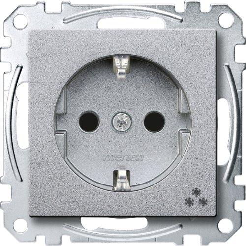 Merten MEG2355-0460 SCHUKO-Steckdose mit Kennz. Gefrierschrank, BRS, Steckkl, aluminium, System M