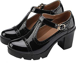 Women's Classic T-Strap Platform Mid-Heel Square Toe Oxfords Dress Shoes