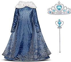 URAQT Vestido Princesa Disfraz Traje Parte Disfraces Las Niñas Vestido, Cosplay de Disfraz de Halloween, Cumpleaños, Carnaval y la Fiesta, 120cm