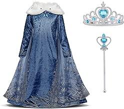 URAQT Mädchen Eiskönigin ELSA Blau Schneeflocke Kleid mit Plüschkragen, Kinder Prinzessin Kostüm,Karneval Party, Verkleidung Halloween Fest, Paket Beinhaltet Kleid Handschuhe Krone Zauberstab …