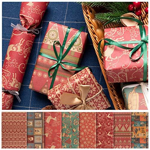 Whaline Papel de Envoltura de Regalos de Navidad, 76x50 cm Hojas Grandes, 8 Diseños, Embalaje de Regalo de Elementos de Navidad, Papel Kraft y Papel Recubierto