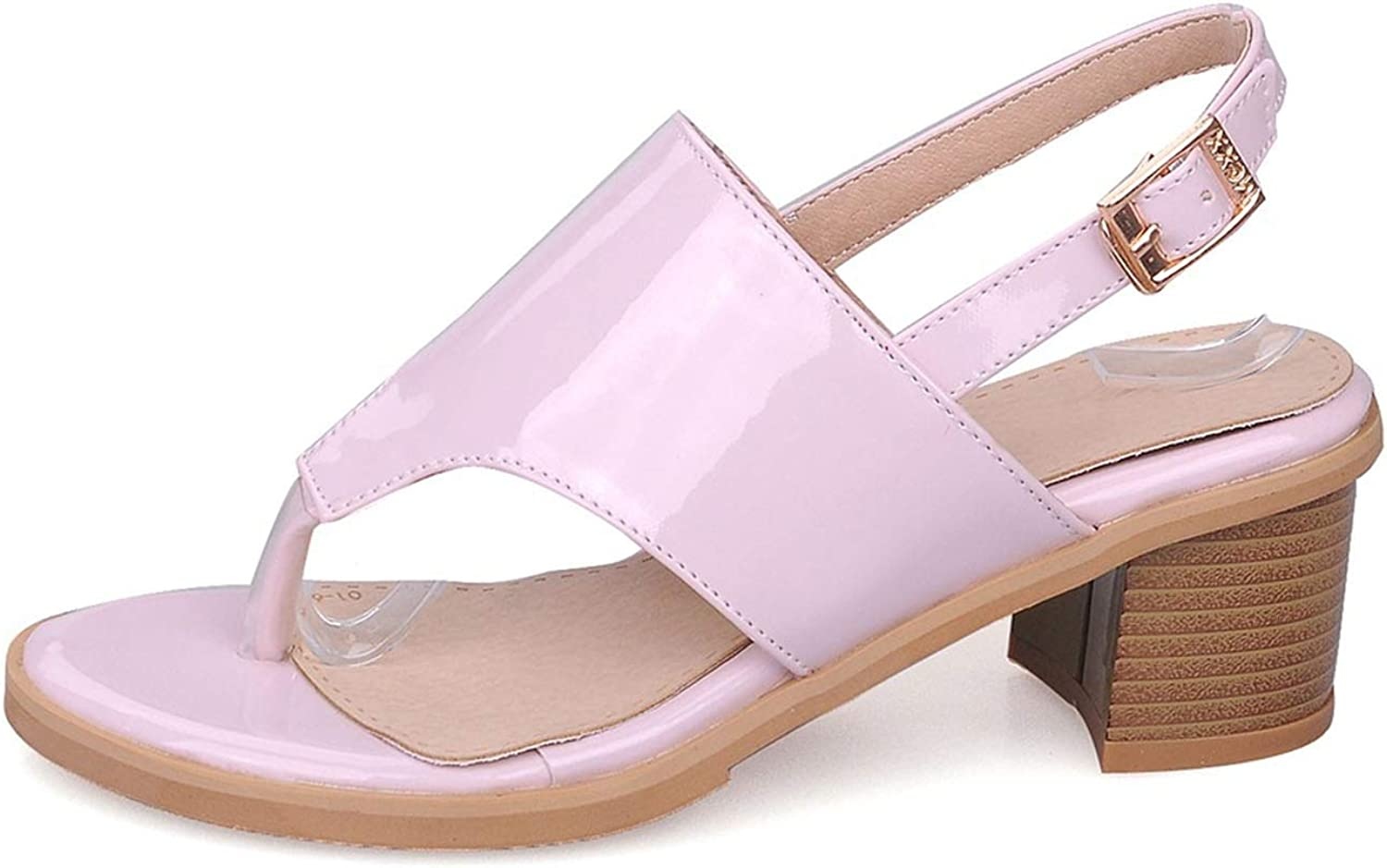 Good-memories pump Plus Size 33-43 Women Sandals med Heels Open Toe pu Leather Buckle Solid color Casual shoes