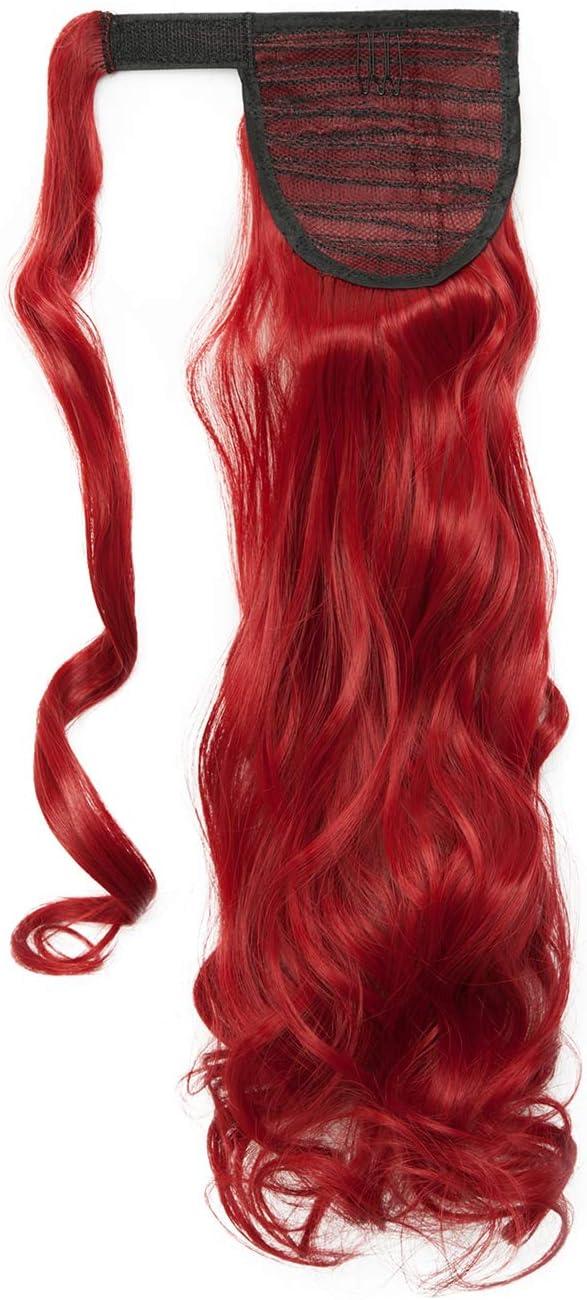 S-noilite® Wrap Around Ponytail Extensiones de Clip de Pelo Natural Una Pieza Pasta Mágica Cola de Caballo Pedazo de Cabello para Mujeres 60cm Rizado Rojo oscuro