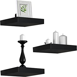 """Sorbus Floating Shelves - Hanging Wall Shelves Decoration - Perfect Trophy Display, Photo Frames (9""""x1""""x9"""", Black)"""