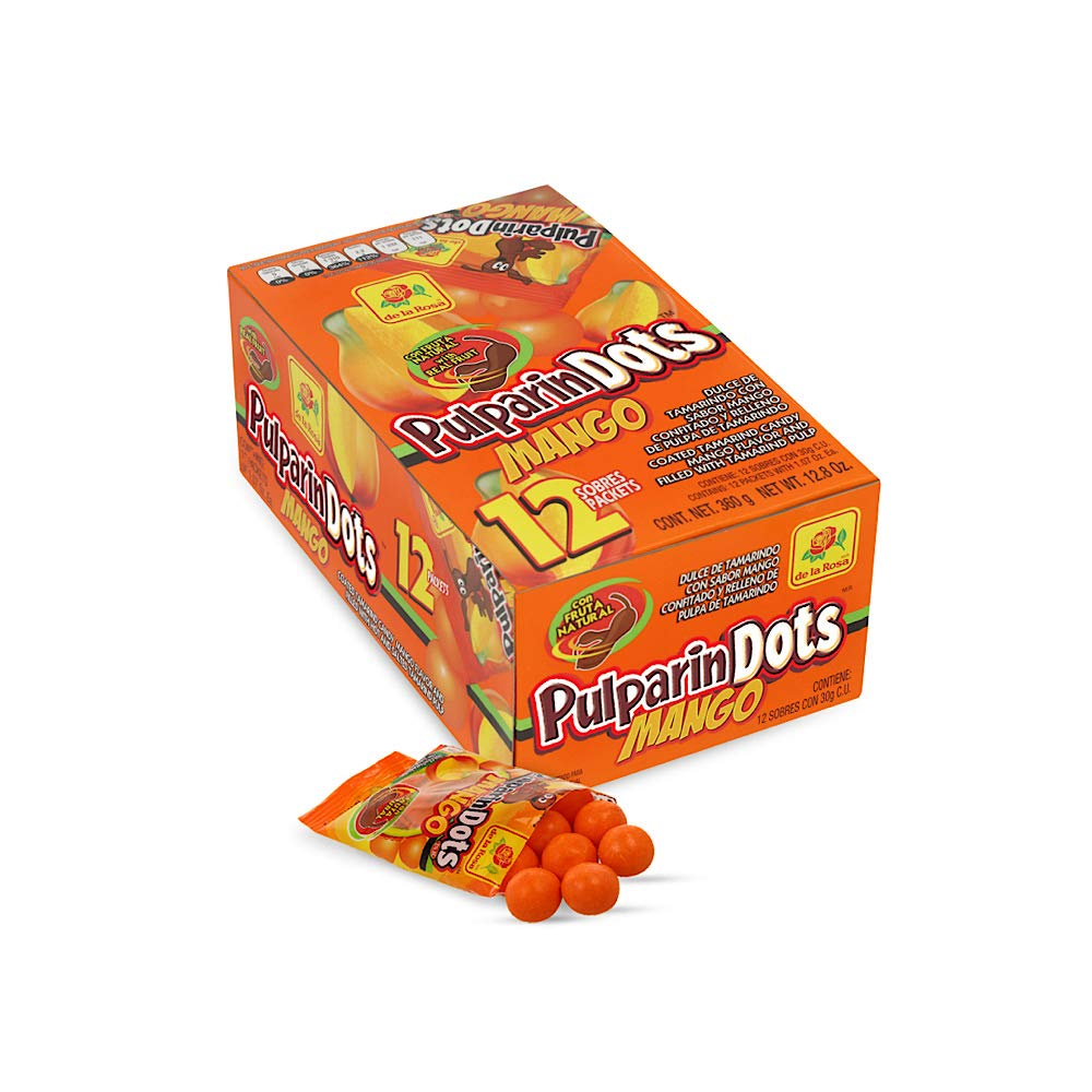 De La Rosa Pulparindots Hot Watermelon Flavor, 20 Packets, 10 Pcs EA. Authentic Mexican Candy with Free Chocolate Kinder Bar Included