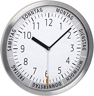 TFA Dostmann Analogue Wall Clock with Day of The Week, Aluminium, White, L318 x B60 x H350 mm