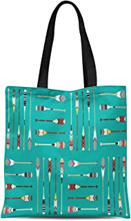 Semtomn Canvas Tote Bag Colorful Oar Canoe Paddle Pattern Lake Indian Activity Boat Durable Reusable Shopping Shoulder Grocery Bag