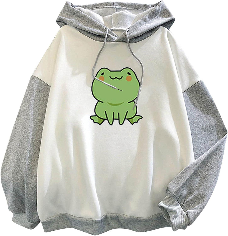 Hoodie Pullover Tops for Women Cute Frog Drop Shoulder Long Sleeve Blouse Tops Casual Sport Sweatshirts