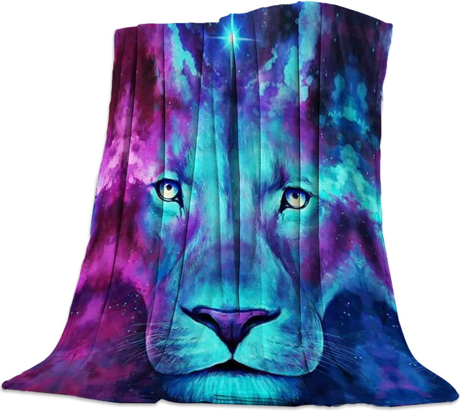 YEHO Art Gallery 49x59 Inch Flannel Fleece Bed Blanket Soft ThrowBlankets for Girls Boys,colorful 3D Galaxy Lion Head Animal Pattern,Cozy Lightweight Blankets for Bedroom Living Room Sofa Couch