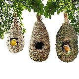 Hamiledyi Hummingbird Nesting House,Roosting Pocket Outside Hanging Birdhouse Hand Woven Bird Hut Grass Nest Roosting Pocket for Bluebird Canary Finch Sparrow Wren Hummingbird Chickadee (3 Pack)