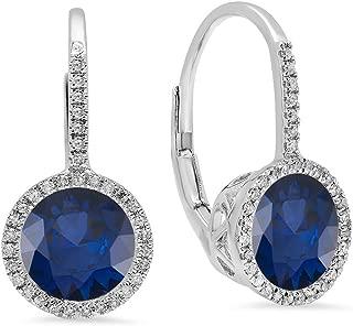 10K 7 MM Each Round Lab Created Gemstone & White Diamond Ladies Hoop Earrings, White Gold