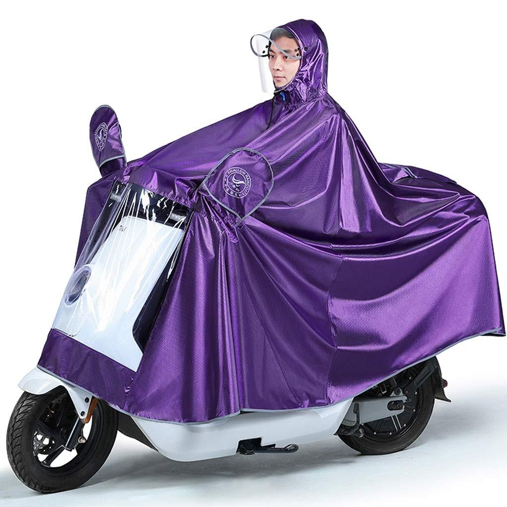 クレデンシャル作るクラブ厚手のジャカード生地と透明のビッグハットのひさし(サイズ; 5 XL)を持つ独身者による電動自転車の乗馬のためのレインコート (色 : D)