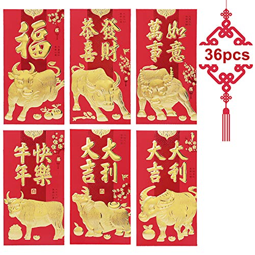 Chinese Red Envelopes, KissDate 2021 Chinese New Year Ox Hong Bao Lai See...