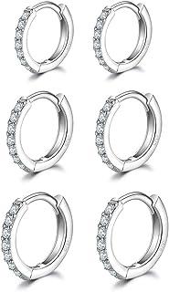 3 Pairs Sterling Silver Small Hoop Earrings Tiny Cartilage Earring Cubic Zirconia Cuff Huggie Earrings Mini Hoops Earrings...