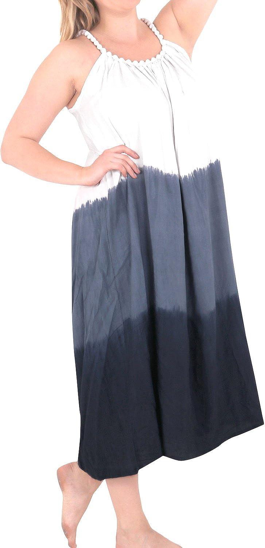 LA LEELA Women's Casual Summer Tank Swing Sun Dresses Cover Up US 14-18W Blue 4