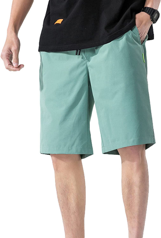 Segindy Men's Summer Shorts Fashion Solid Color Trend Wild Casual Drawstring