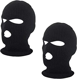 2pcs 3-Hole Ski Face Mask Balaclava,Full Face Mask for Winter Outdoor Sports Black