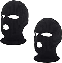 SunTrade 2pcs 3-Hole Ski Face Mask Balaclava,Full Face Mask for Winter Outdoor Sports Black