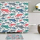 KISSENSU Cortinas con Ganchos,Shark Mix of Colorful Bull Shark Patrones Familiares Maestros de Supervivencia Depredadores Naturaleza peligrosa,Cortina de Ducha Alfombra de baño Bañera Accesorios
