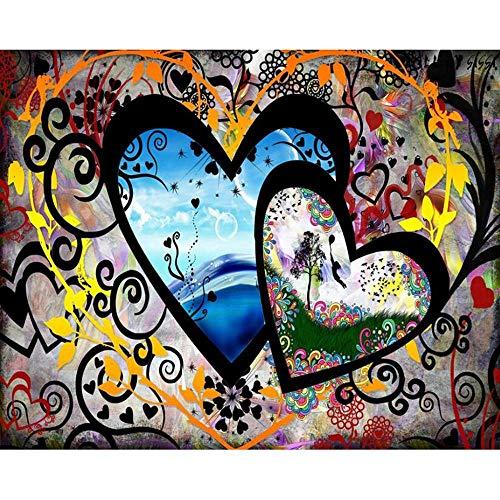 Diamond Painting Flor De Corazón Punto De Cruz Completo Diamante Juego Completo De Kits Arte Y Manualidades Bricolaje 5D Regalo De Decoración Bordado De Diamantes De Imitación,Taladro Cuadrado,50x60cm