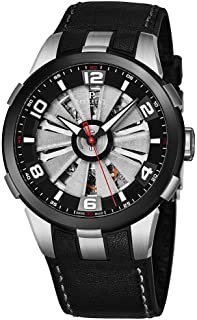 Perrelet Turbine Skeleton Mens Automatic Watch - 44mm Unique Analog Watch with Second Hand and Sapphire Crystal - Black St...