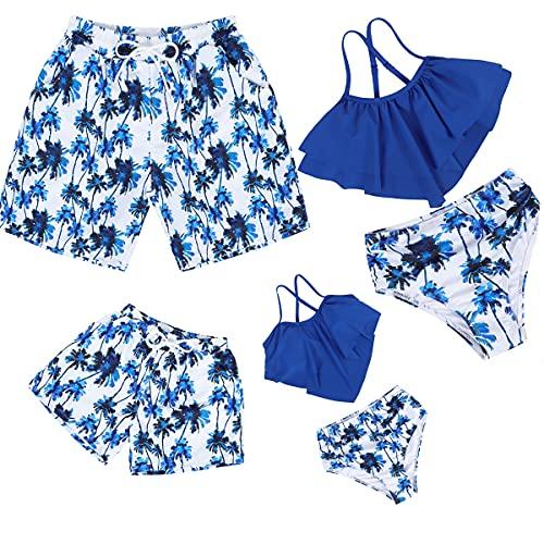 HenzWorld - Bikini con Volantes para Madre y Bebé Conjunto de Dos Piezas Talle Alto Fruncido para Padres e Hijos Bañador para Padre e Hijo Traje de Baño a Juego para La Familia Talla 10-12Y