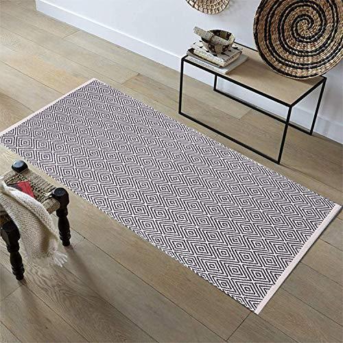 Pauwer Corridore del tappeto della zona di cotone, Tappeto tappetino antiscivolo lavabile in lavatrice per soggiorno Camera da letto Lavanderia,60x130cm