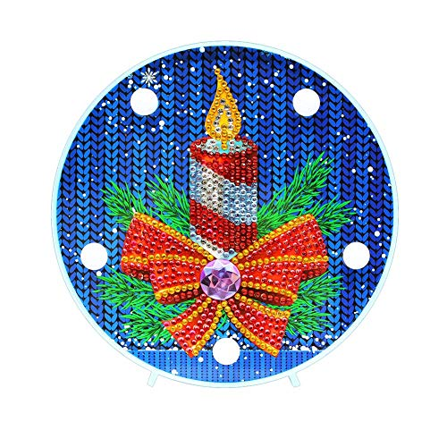 Domybest Weihnachtskerze DIY 5D Diamond Painting Komplett mit LED-Lampe warmweiß Nachtlicht Kinder Tischlampe batteriebetrieben dekorative Lampe für Schlafzimmer Wohnzimmer