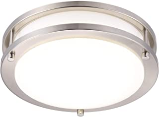Cloudy Bay LED Motion Sensor Ceiling Light,Time,Distance,Ambience Adjustable,10 inch,120V~270V 15W CRI90 5000K Day Light,for Kitchen,Garage,Hallway,Stairwell,Damp Location Brushed Nickel