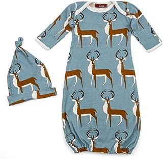 Milkbarn Newborn Gown & Hat Set 0-3M - Buck