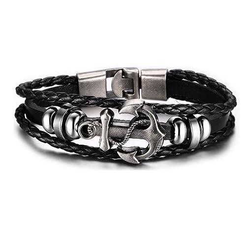 HONGCI Black Alloy Anchor Viking Cord Ropes Vintage Cuff Bangle Bracelet (black)(Size: One size)