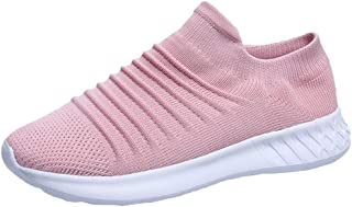 LONGDAY Tennis Athletic Comfortable ShoesWomen's Casual Walking Shoes Breathable Mesh Work Slip-on Sneakers