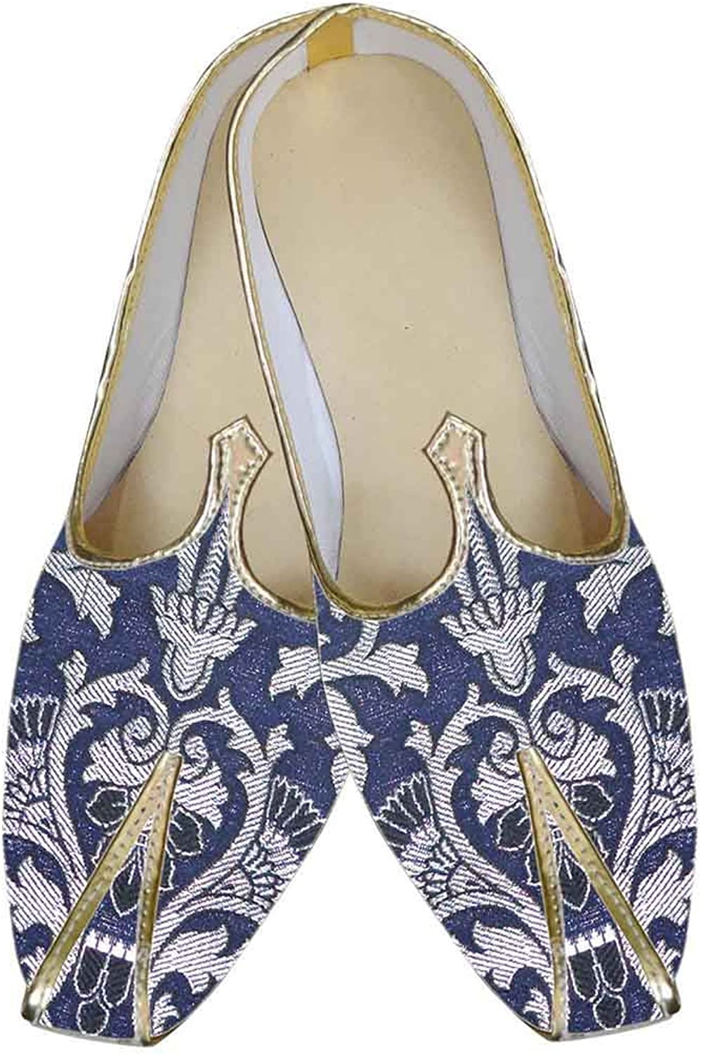 INMONARCH Mens Navy bluee Indian shoes Floral Design MJ0135
