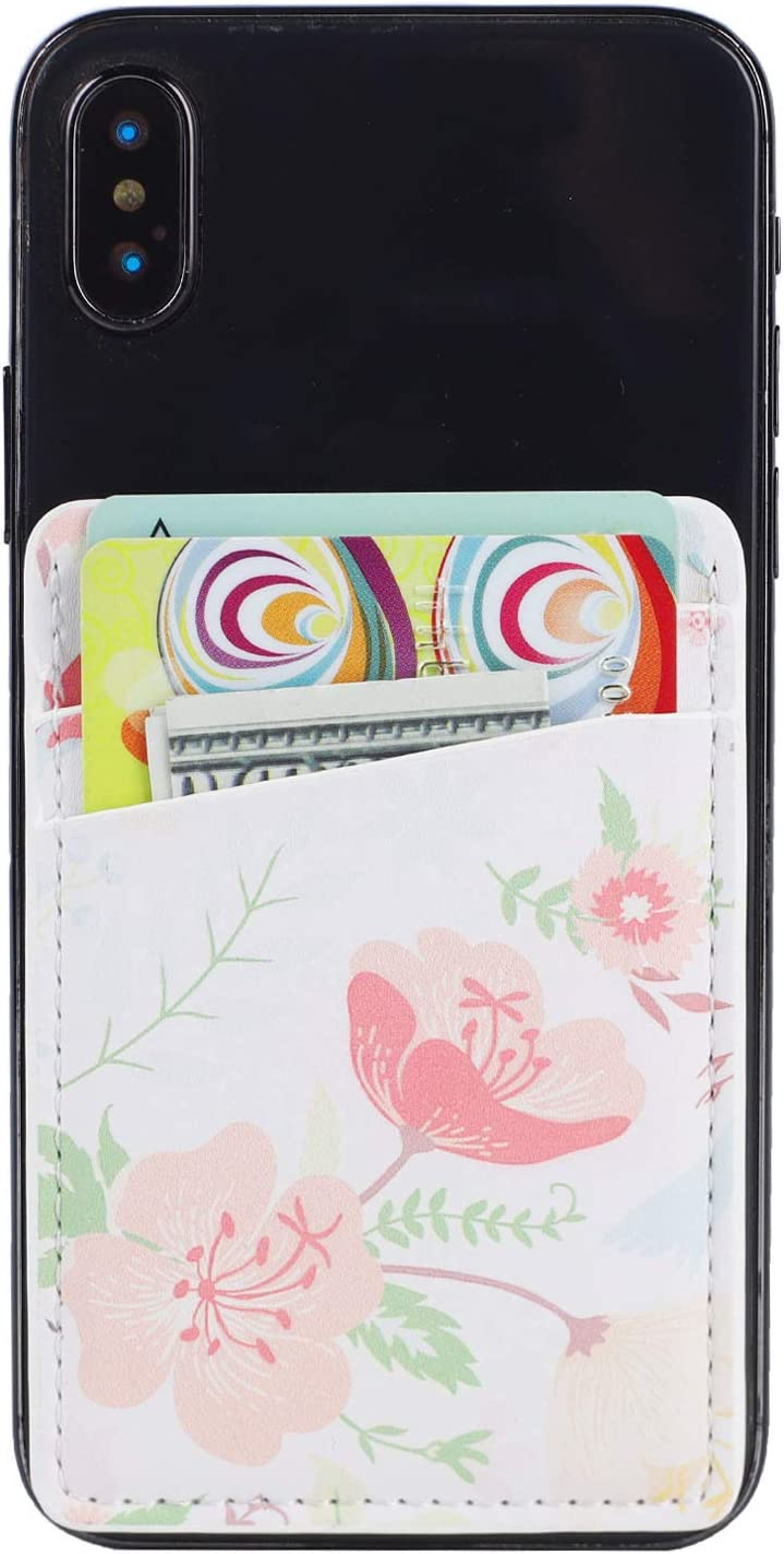 2Pack PU Leather Phone Pocket,Cell Phone Stick On Card Wallet,Credit Cards/ID Card Holder(Double Secure) with 3M Sticker for Back of iPhone,Android and All Smartphones (2 Floral)