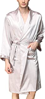 3ab2e99f62 Lu s Chic Men s Satin Kimono Robe Long Sleeves Shorts Loungewear Spa  Pockets Luxury Bathrobe
